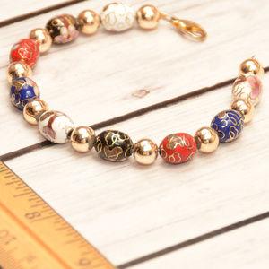 vintage cloisonne bead beaded bracelet gold